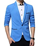 Benibos Herren Slim Fit L?ssig Premium Blazer Anzugjacke (M, Hellblau)