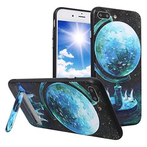 Coque iPhone 8 Plus Hybrid Case, iPhone 7 Plus Étui avec Supporter Kickstand, Moon mood® Coque en Silicone TPU Bumper et Plastique PC Rigide Arrière Étui pour Apple iPhone 8 Plus Housse de Protection  Style 4