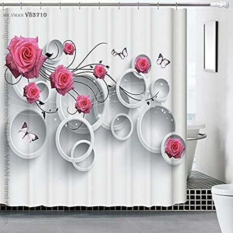 BJFF® Shower Curtains Curtain Polyester 3D Hand Painted Dimensional Waterproof