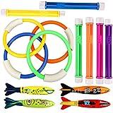 Cherbell Juguete de Buceo Natación subacuática Natación Piscina Toy Accesorio de Entrenamiento de Natación (4 PCS Anillos de Buceo + 4 PCS Torpedos de Agua Bandidos +6 PCS Piezas de Clavos de Buceo)