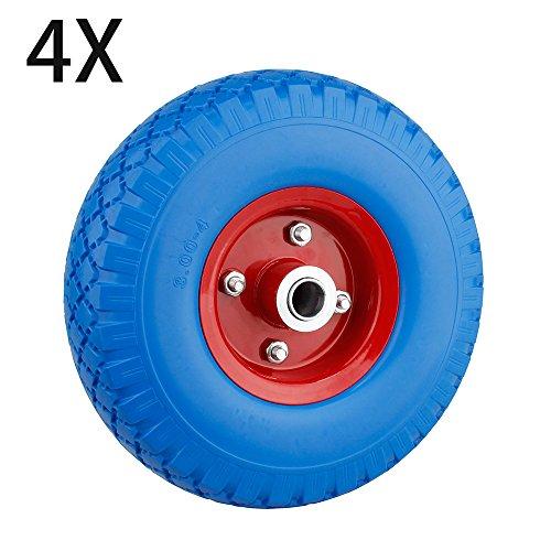 Preisvergleich Produktbild SPEED 4X PU Rad Pannensicher Schubkarrenrad Vollgummi Gummirad Blau mit 100kg Traglast Ø255mm /3.00-4 Reifenbreite 74mmNabenlänge 70mmAchsbohrung 20mm (blau+rot)