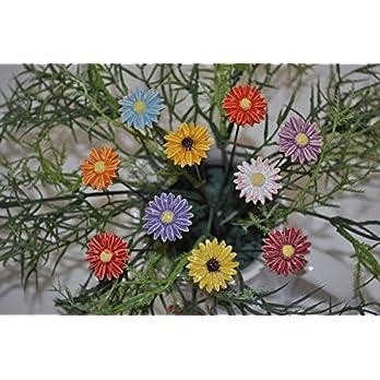 10 Keramikblumen: Gänseblümchen, bunt ca. 2,5 cm von SylBer-Ceramics aus Markkleeberg