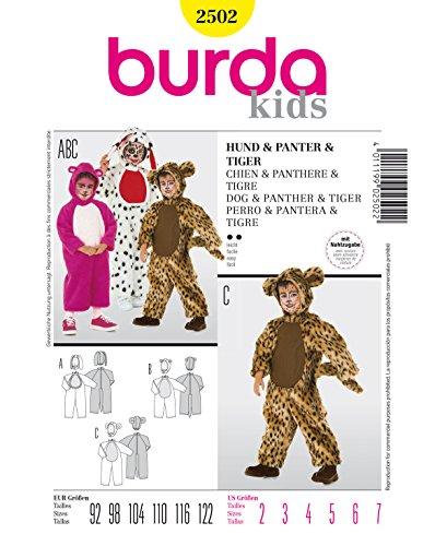 Kostüm Kid Tiger - Burda 2502 Schnittmuster Kostüm Karneval Fasching Hund Panter Tiger (Kids, Gr. 92-122) - Level 2 leicht