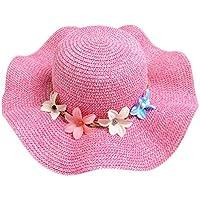 Gespout Primavera Estate Ragazze Cappello di Paglia Cappello da Sole Fiori  Cappello del Bacino Berretti per 552fb69646d1