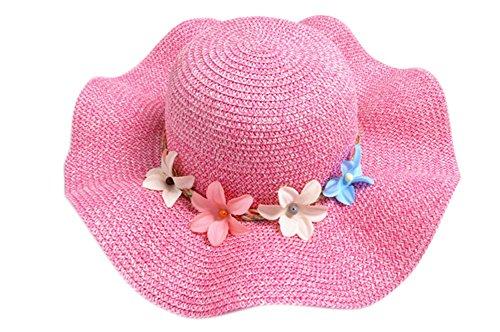Demarkt Strohhut Sonnenhut Sommerhut Strandhut für Baby Mädchen Kappenumfang von etwa 50-52cm Rose Rot (Die Rote Rose Mädchen)
