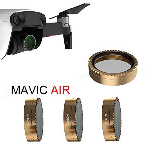 TianWlio 3PC Für DJI Mavic Air Drone Gold Gimbal Kamera Filter HD PL-ND4 / ND8 / ND16