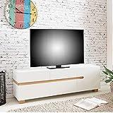 Wohnling Lowboard Scandi 160 x 52 x 42 cm MDF-Holz skandinavisch weiß matt TV-Board | Design TV-Board mit Vier Schubladen Tür ohne Griffe | Moderne Fernseher-Kommode