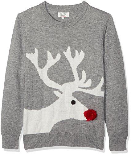 NIZZIN Unisex Weihnachtspullover Amaryllis Grau (Grey BC18)