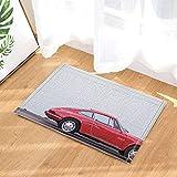 GAOFENFFR Schönes rotes Auto, das an der Seite Einer weißen Wand angedockt ist. Wasserdicht, haltbar, Rutschfest, Keine Chemikalien, Fußmatten, Fußmatten