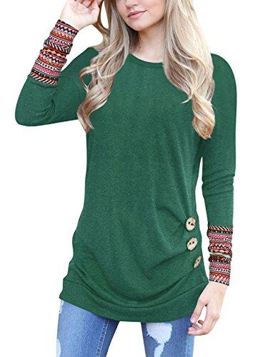 Junshan Langarm Shirt Damen Bluse Lange Ärmel Geblümter Pullover Elegant Sweatshirt T-Shirt Casual Slim Tops Blouse Oberteile (42, Grün)