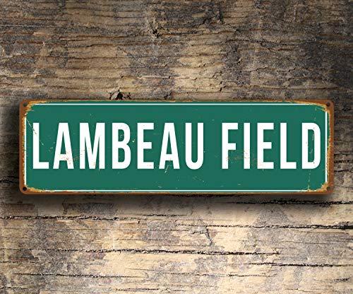 CELYCASY Lambeau Field Schild Vintage Stil Lambeau Field Stadion Schild Lambeau Field Green Bay Packers Schild Fußball Geschenke Packers Schild -