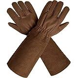 CCBETTER Rosen-Handschuhe mit extra langen Rinderfell-Manschetten für Männer und Frauen, Dornfest, atmungsaktiv und langlebig, Ziegenleder Gartenhandschuhe, Medium, braun, 1
