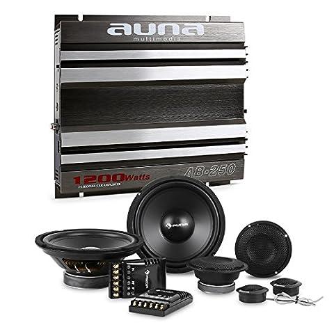 auna CS-Comp-8 Car-Hifi-Set 2-Kanal-Endstufe + Lautsprecher-Set (1200 W max. 2-Kanal-Endstufe, 2 x 1200 Watt Subwoofer, 2 x 1200 Watt Mitteltöner und 2 x 1,57