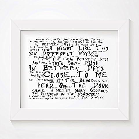 `Noir Paranoiac` Kunstdruck - THE CURE - Head on the Door - Unterzeichnet und Nummerierten Limitierte Auflage Typografie Ungerahmt 25 x 20 cm Wand Kunst Druck Text Lyrisch Plakat - Song Lyrics Art Print