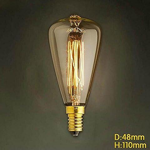 ST48 E14 220V-240V 25W/40W Glühlampe Edison Schraubverschluss kleinen gelben retro Kronleuchter Glühbirne (40)