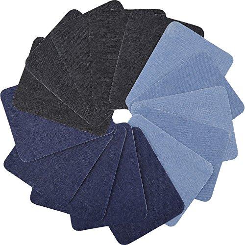 Aboat 15 Stück 3 Farben Aufbügelflicken Bügelflicken Denim Baumwolle Patches Bügeleisen Reparatursatz, Größen 5