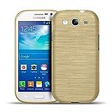 Samsung Galaxy S3 Neo, S3 TPU Gummi Hülle Gold, Metall Optik Brush Design, Schutzcover Bumper, Handyhülle aus Silikon Galaxy S3 Neo, S3 Cover Rückschale Gold, Samsung Galaxy S3 Neo, S3 (4,8 Zoll (12,2 cm)