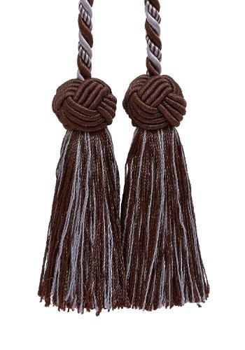 Double Tassel/marron et bleu clair/Tassel Tie W/8,9 cm glands, Baroque Collection Style # BCT Couleur : Mocha Ice 24B