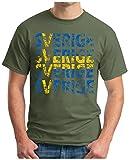 OM3® - Sverige - T-Shirt Sweden Schweden Fussball World Cup Soccer Fanshirt Sport Trikot, 4XL, Oliv