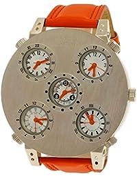 Grandes XXL NY London Business Hombre diseñadores Reloj de pulsera de reloj Mundo tiempo analógico de cuarzo de reloj naranja plata 5reloj admitidas