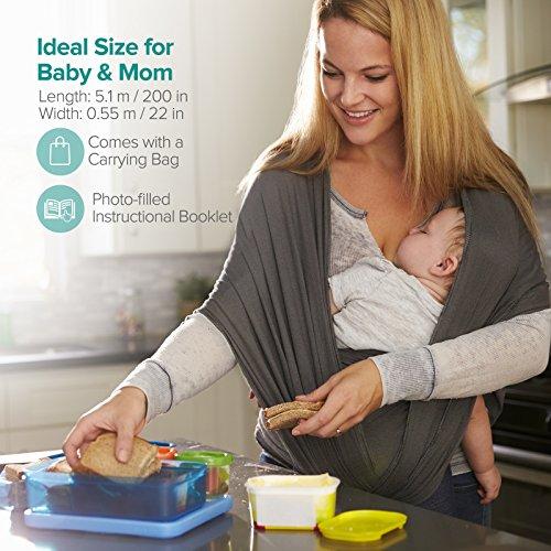 Babytragetuch, Sable Kindertragetuch Babybauchtrage, Elastisches Tragetuch für Baby Früh- und Neugeborene Kleinkinder, inkl. Anleitungsheft - 3