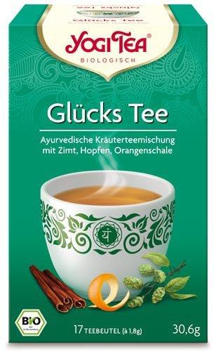 Yogi Tee, Glücks-Tee, 4er SPARPACK , Biotee, man schmeckt die wärme eines glücklichen Sommertages, 17 Teebeutel, 30,6g -