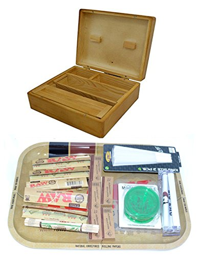 SHINE GRASSLEAF Holz-Rollen-Kasten MIT ROHSTAHL-Geschenk-Set- INKLUSIVE Papiere/Tipps/Schleifer/ROLLMASCHINE/MAT (GROSSER Tray, GROSSER Kasten)