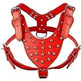 Yonfan Hundegeschirr mit Nieten Leder Faux Anti Zug Brustgeschirr für Mittel und Große Hunde Französische Bulldogge Verstellbar