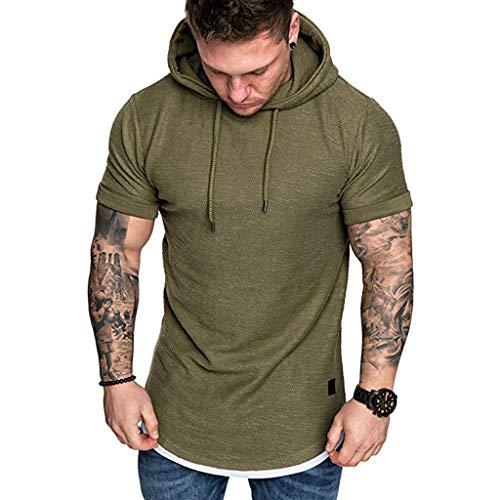 Herren T-Shirt in Sweatshirt, Herren T-Shirt Slim Kurzarm Brief T-Shirt Shirts Shirt Shirts Polo Shirt Bluse Mantel Jacke Pullover Hoodies Pullover Hoodie Herren Polyester Twill Hooded Fleece-sweatshirt