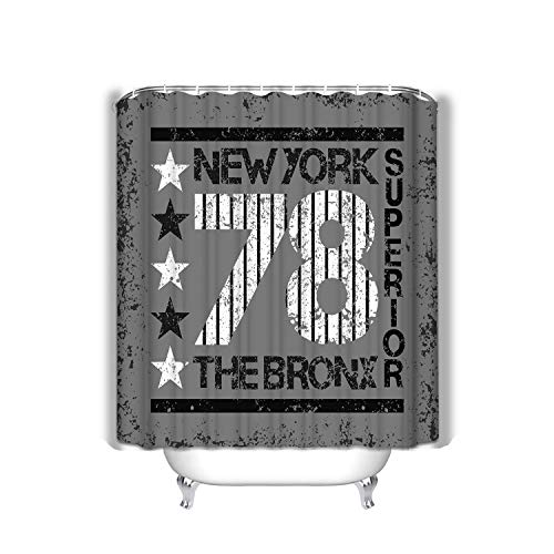 rgthjuk Beach Shower Curtain New York Typography Bronx Design Graphic Printing Man NYC original Clothing Emblem Fabric Bathroom Decor 60 X 72 Inch