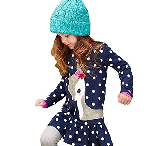 Bekleidung Longra Kinder Mädchen Herbst Kleidung Langarm Hirsch Tops t-Shirt-Kleid Röcke Kleider(2-6 Jahre) (110CM