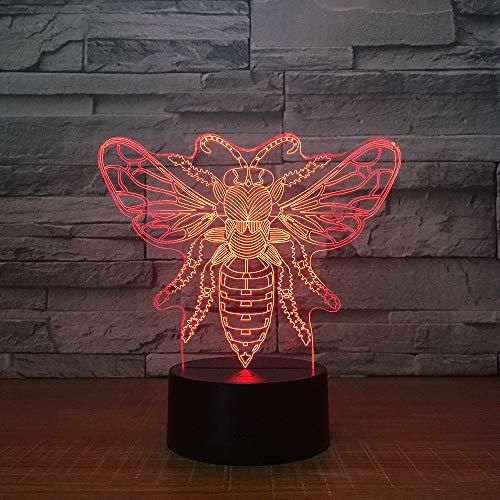 Farfalla 3d Luce Colorata Lampada da notte Usb Power Supply Touch Control Lampada da tavolo per bambini Decorazione, Telecomando