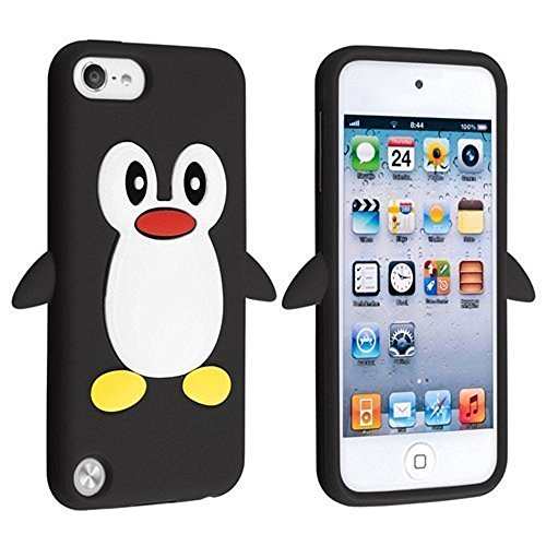 Tsmine Apple Ipod Touch 5. und 6. Generation Pinguin Cartoon Case - Cute 3D Penguin Soft Silikon zurück waschbar Cover Case Schutzhülle für iPod Touch 5. & 6. Generation, Schwarz Ipod Case