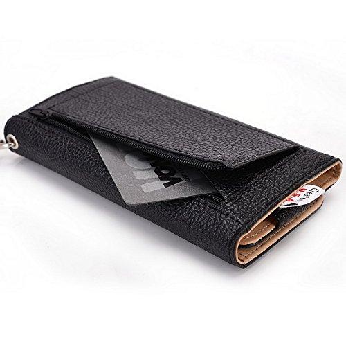 Kroo Pochette Téléphone universel Femme Portefeuille en cuir PU avec sangle poignet pour Allview P6Quad Plus/P5symbo noir - noir noir - noir