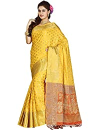Ishin Banarsi Poly Silk Yellow Woven Zari Border Women's Saree/Sari With Tassels