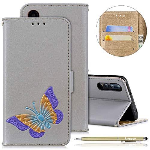 Herbests Handyhülle für Huawei P20 Pro, Ultra Dünn Bunte Brieftasche Handyhülle Hülle Ledertasche für Huawei P20 Pro, Mädchen Elegant Schmetterling Drucken Schutzhülle Klapphülle Leder Handy