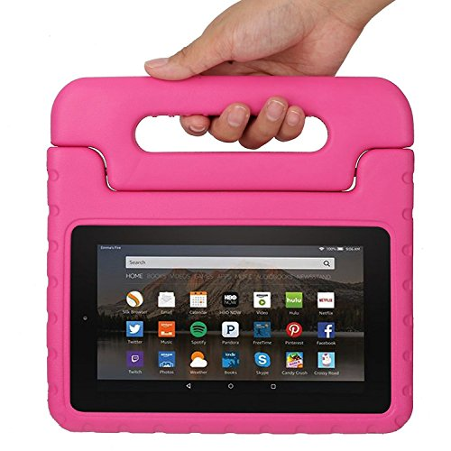 51lEI7zOfwL - BEST BUY #1 Fire 7 2015 Case, CAM-ULATA Kids Children Shock Proof Convertible Handle Light Weight Super Protective Stand Cover 7 Inch Display Tablet 5th Generation 2015 Release EVA Case for Amazon Fire Tablet, Pink Reviews and price compare uk