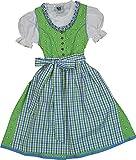Fröhliches Kinderdirndl SELINA Baumwolle apfelgrün von Isar Trachten 3-tlg. Komplett-Set, Größen:134, Farben:apfel