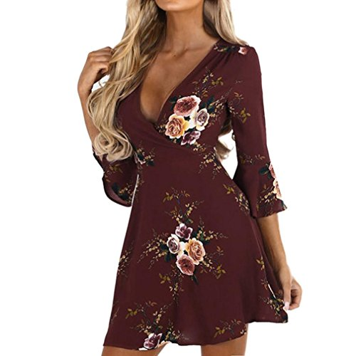 UFACE Damen Beiläufig Flare Dreiviertel Sleeve Print Floral Damen Minikleid Kleid Strandkleider Partykleid Abendkleid Minikleid (Pullover Jessica Jersey)