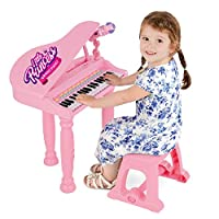 Girls Pink Musical Grand Piano Electronic Keyboard - Kids Music Toy With Microphone, Mic Stand, Stool - MP3 Compatible - Sing Play Record - 37 Keys