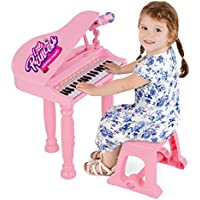 Girls Pink Musical Grand Piano Electronic Keyboard – Kids Music Toy With Microphone, Mic Stand, Stool – MP3 Compatible – Sing Play Record – 37 Keys