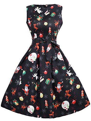 HENCY Weihnachten Kleid Damen Rockabilly Kleid Festlich Partykleid Cocktailkleid Ärmellos Engel Druck XXlarge (Weihnachten Fur Kleid)