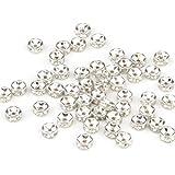 Lotto Stock 50 perline perle argento 6 mm con strass
