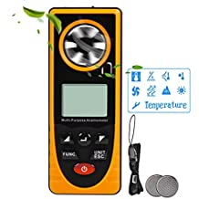 OTraki Anemometers LCD Backlight Hand Held Anemometer with Multifunction Buttons Wind Speed Monitor Temperature Humidity meter Thermometer GM8910 for Windsurfing Sailing Surfing Fishing Kite Flying
