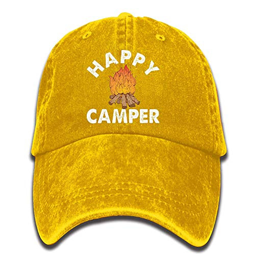 Desing shop Happy Camper Campfire Vintage Washed Dyed Cotton Twill Low Profile Adjustable Baseball Cap Black Browning-twill Cap