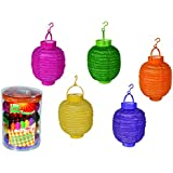 Les lampions Led SET 5 pc. jaune vert orange rose violet, suspendu, hauteur environ 15cm