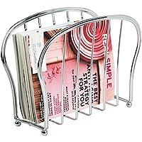 mDesign Revistero de pie – Elegante cesta de metal para el baño o la oficina – Soporte para periódicos, revistas, libros, tablets, etc. – Se coloca directamente sobre el suelo – plateado