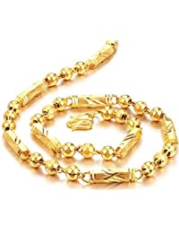 bigsoho Jewellery 18k Gold Plated Steel Golden Beads Link Chain Women/Men Necklace