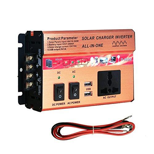 SAILFLO 400W/750W Inverter+ Solar/AC Charger Controller Intergrated Kit AC DC 12V USB Solar Panel (400W)