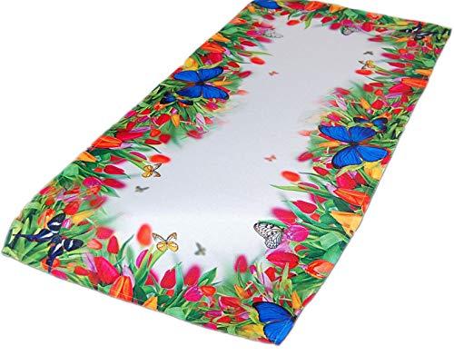 Pflegeleichte Tischdecke 40x85 cm Läufer Eckig Tulpenwiese Frühling Sommerdecke Gartentischdecke...